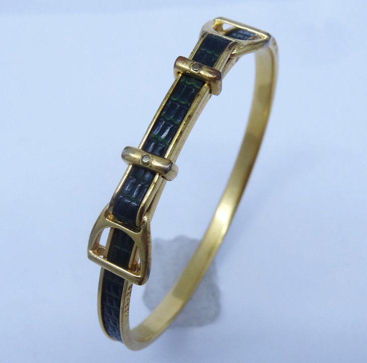Bangle Bracelet Hermes Paris Equestrian Belt Horse Snake Leather Gold Tone (#5883) by BestOldJewelry on Etsy https://www.etsy.com/listing/260259965/bangle-bracelet-hermes-paris-equestrian