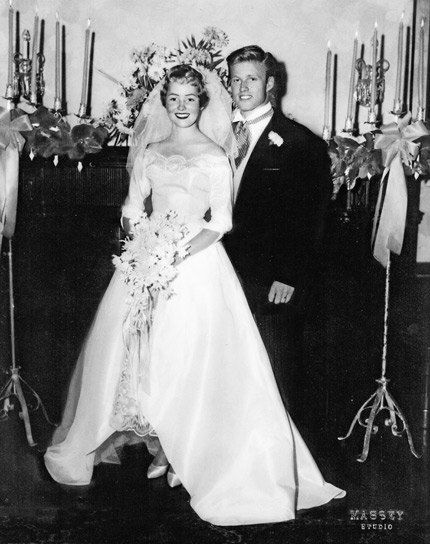 """""""Redford marries Lola Van Wagenen in Provo, September 1958. It was their second ceremony. They had legally tied the knot five weeks earlier in Las Vegas."""" Photos: The Road to Redford   Vanity Fair"""