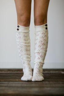Knitted Button Boot Socks - three bird nest