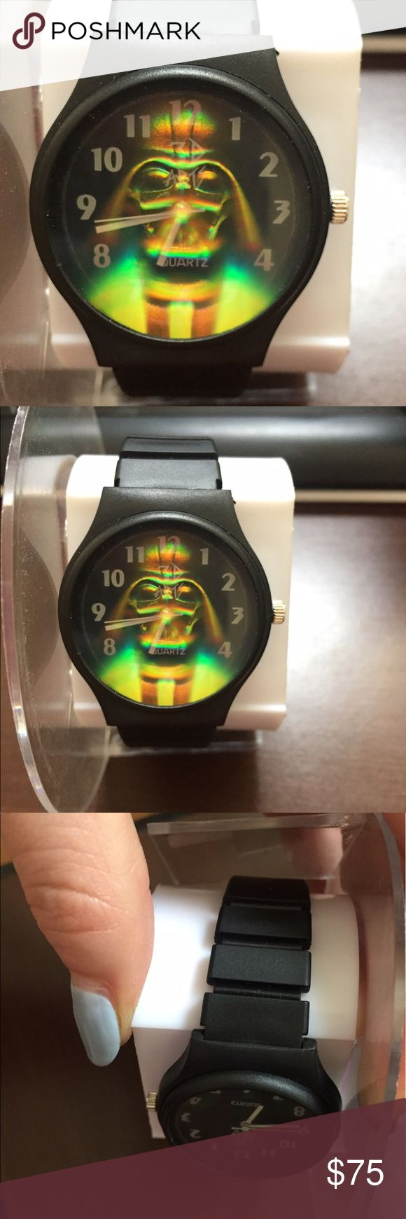 3-D Arts Star Wars Darth Vader Hologram Watch NIB 3-D Arts Star Wars Darth Vader Hologram Watch. 1994 Lucas Film Ltd. It's new in package. Watch is in mint condition. There is damage to the case (see pics) comes with original paper work. Battery died from sitting in the box. New never worn only opened to show condition of watch is mint. lucas Films Lts  Accessories Watches