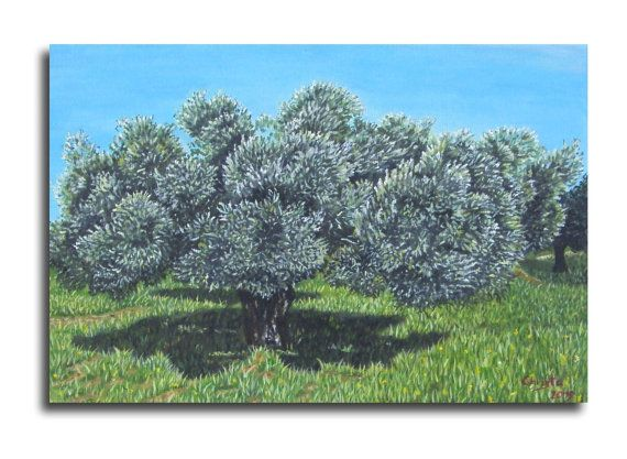 Olive tree painting in oil   Greece.home by OilpaintingsChrista, $90.00