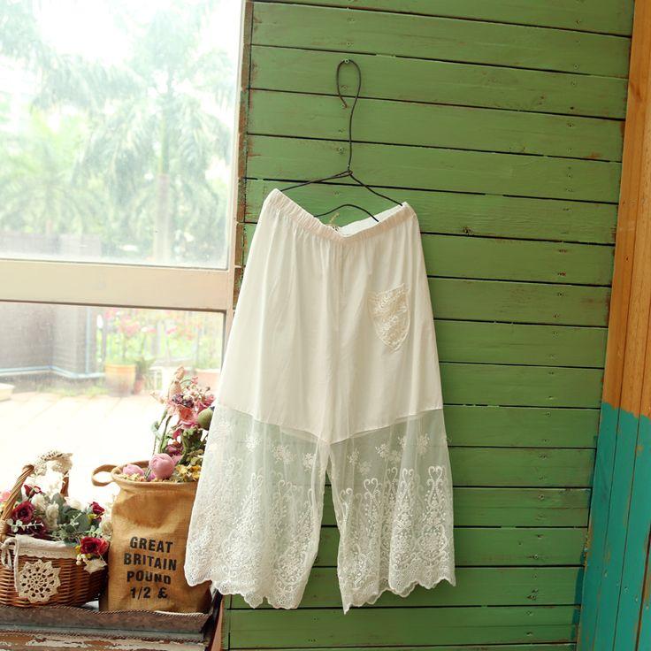 Sen Department of wild embroidery net yarn leggings wide leg pants pants pants fresh forest Department of art soft sister school - Taobao