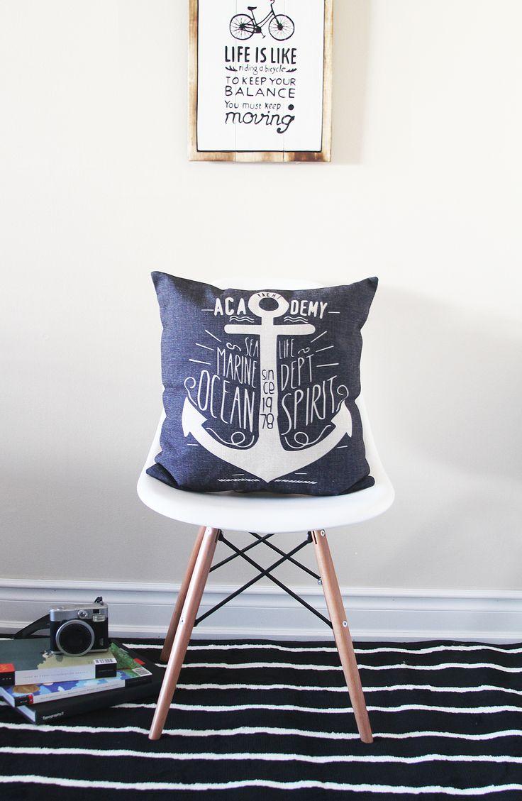 Nautical Throw Pillow, Anchor Pillow Cover, Throw Pillow, Pillow Covers, Navy Blue, Pillow Cushion, Sofa Pillow, Decorative Pillow Cover, Cushion Cover