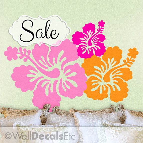 Tropical Decor Hibiscus Decal Hawaiian Flowers by WallDecalsEtc