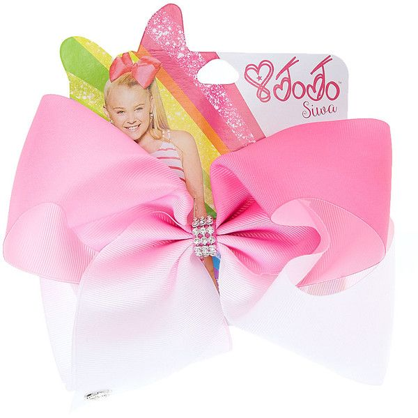 JoJo Siwa Large White Pink Ombre Signature Hair Bow ($15) ❤ liked on Polyvore featuring accessories, hair accessories, siwa, white hair bow, pink hair accessories, hair bows and rhinestone hair accessories