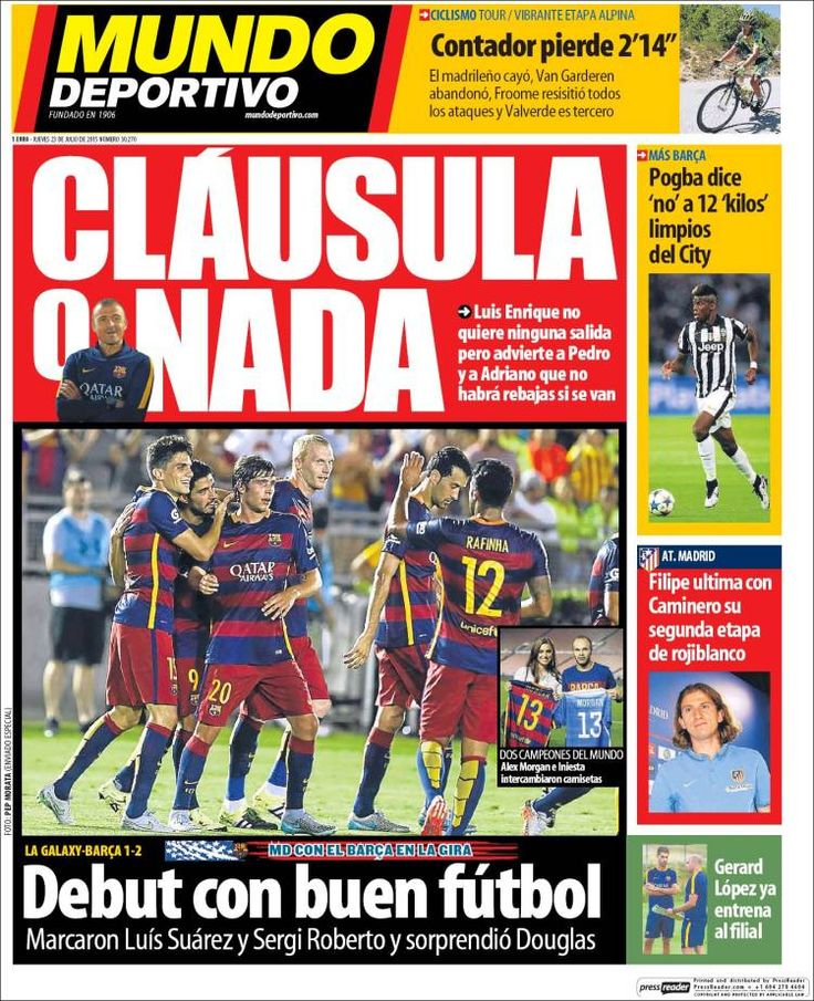 Portada Mundo Deportivo 23/07/2015 Portadas, Enfado