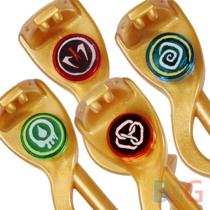 LEGO Ninjago Ninja Set/4 GOLDEN SERPENT STAFFS - Gold Snake - Minifig Weapon NEW