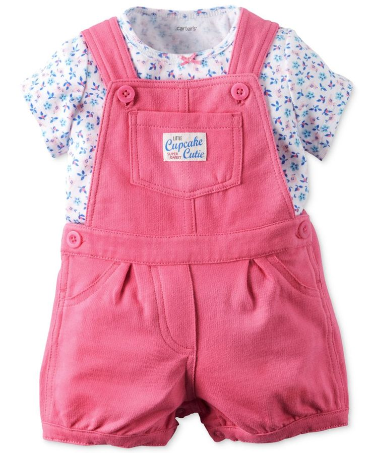 Carter's Baby Girls' 2-Piece Floral-Print T-Shirt & Shortall Set