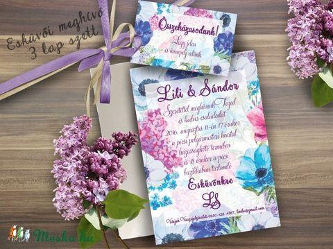 Lila Orgona Virágos Esküvői meghívó, Nyári Virágos Esküvői lap, Orgona virágos meghívó, Lila Esküvő, Esküvő, Naptár, képeslap, album, Meghívó, ültetőkártya, köszönőajándék, Képeslap, levélpapír, Meska