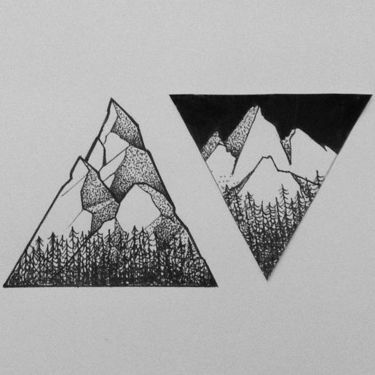Cool Couples Mountains Tattoo Design