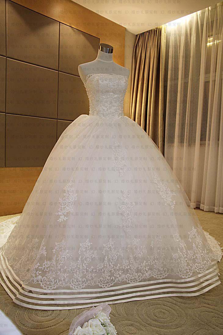 Gorgeous Ball Gown Strapless Chapel Bowknot Wedding Dresses : chiffon-dresses.net