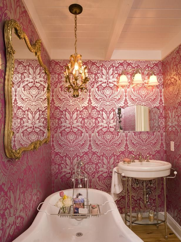 French Bathroom With Pink And Silver Wallpaper With Gold