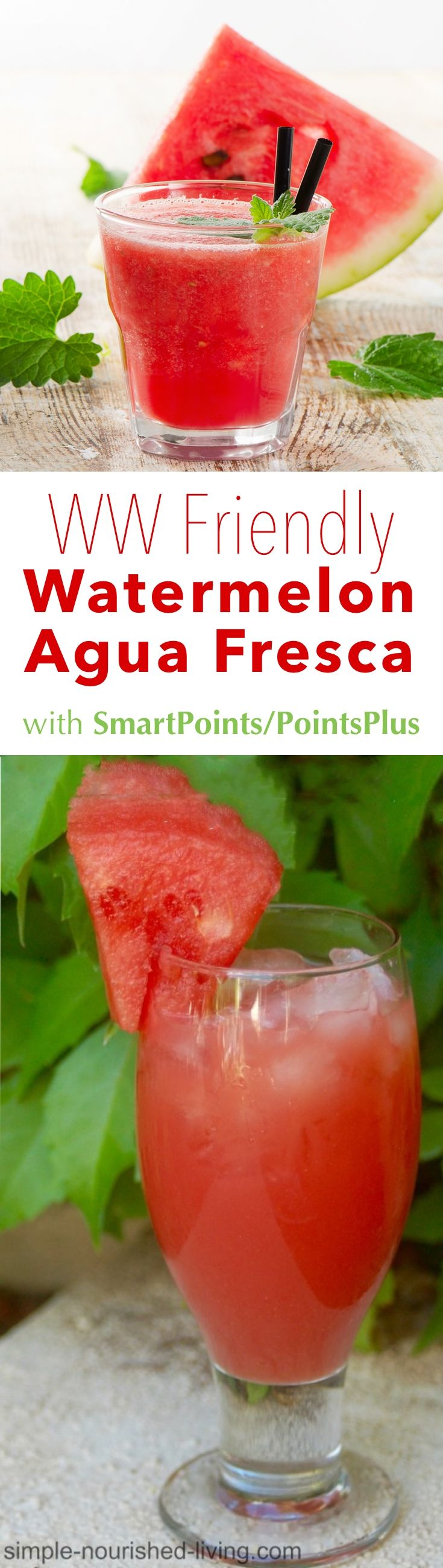 This simple concoction of watermelon blended with water, lime juice and a little sugar makes a delightful thirst quencher for Weight Watchers on a hot day. Substitute cantaloupe if you prefer. *2 Weight Watchers PointsPlus, *1 SmartPoint per serving!