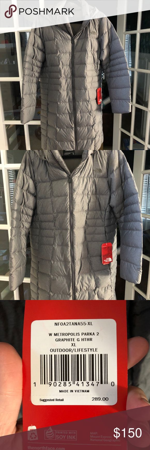 North face metropolis down parka NWT. Smoke free home. Medium gray color. Length hits approximately above knee North Face Jackets & Coats Puffers #Down&Parkas