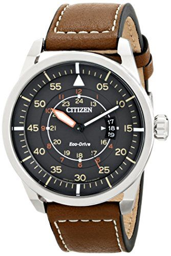 Citizen Eco-Drive Men's AW1361-10H Sport Stainless Steel Watch with Brown Leather Band Check https://www.carrywatches.com Citizen Eco-Drive Men's AW1361-10H Sport Stainless Steel Watch with Brown Leather Band  #citizensport #sportwatches