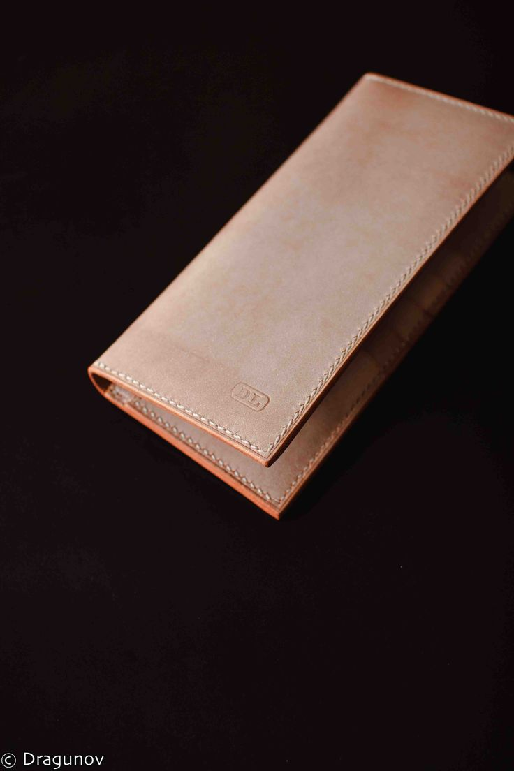 Leather bespoke long wallet. Handmade, hand stitched. Powder leather. DRAGUNOV leather workshop. Bespoke leather goods. #leather #handmade #wallet #leatherwallet #leathergoods #bespoke #handstitched #etsy #gift #goods #purse #dragunov