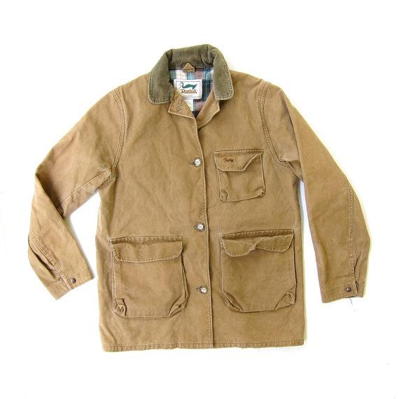 Vtg Duxbak Heavy Duck Canvas Tan Jacket Flannel Lined