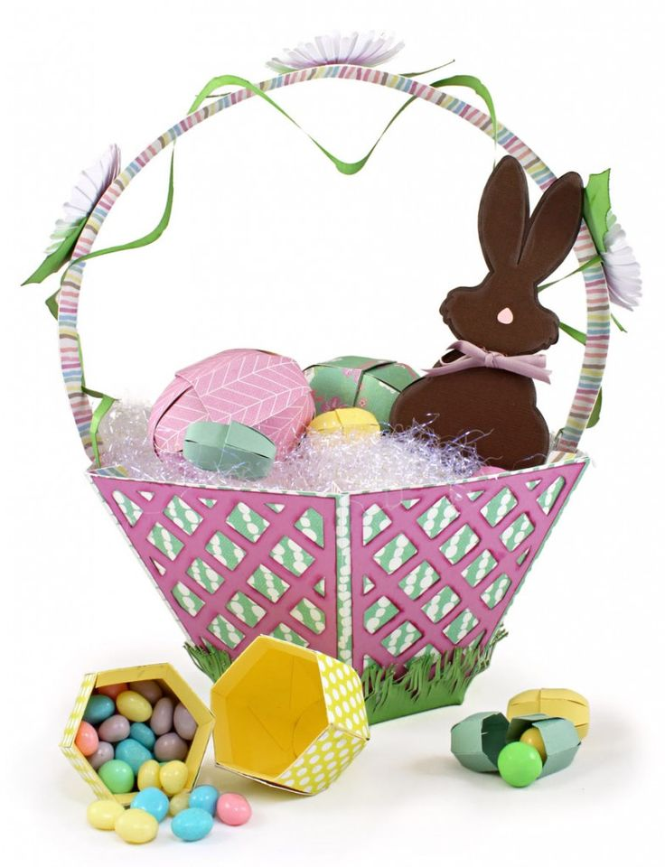 96 best easter baskets images on pinterest easter baskets paper easter basket with eggs jellybeans and chocolate bunny negle Image collections