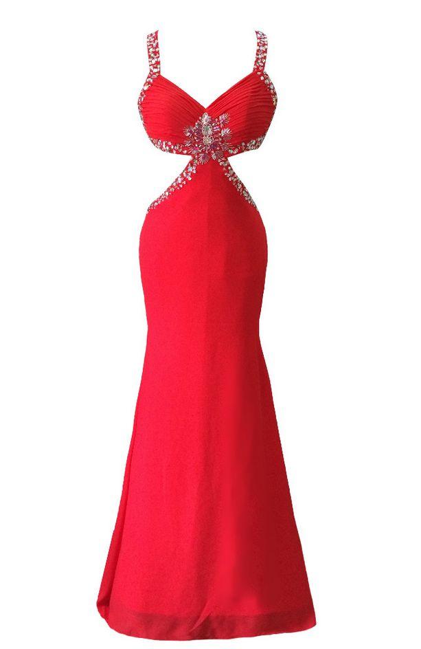 Long Red Chiffon Beaded Evening Dresses Charming Mermaid Vestido De Festa Sexy Cross Back Prom Party Gowns