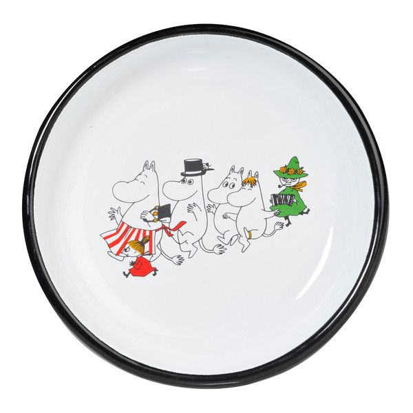 Moomin Valley Enamel plate 18 cm  The Moomin Enamel plates are extremely durable and easy to take care of. This makes them the perfect plates for your home, your cottage or even your boat!