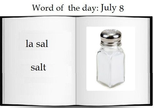 Salt in Spanish |    The Spanish word of the day is la sal.  #Spanish #vocabulary #food