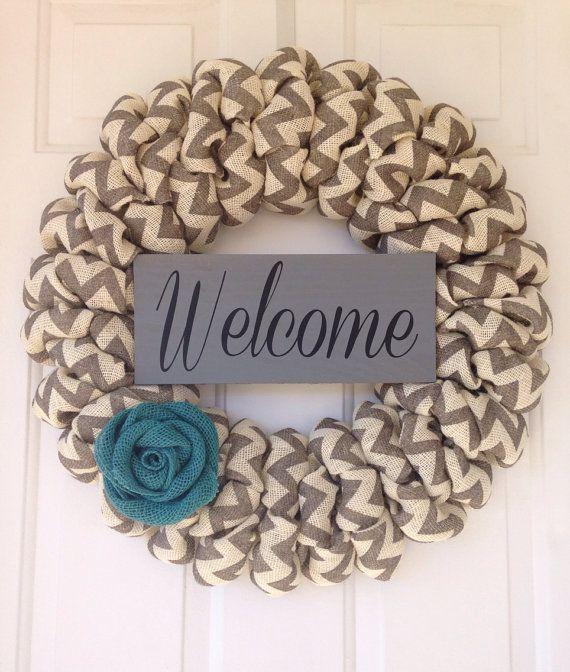 Chevron wreath Housewarming Gift burlap by SimpleCountryBurlap, $67.00