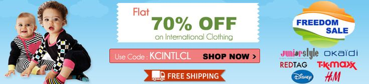 For 115/-(85% Off) Upto 85% off on Kids International Clothing At KinderCart.
