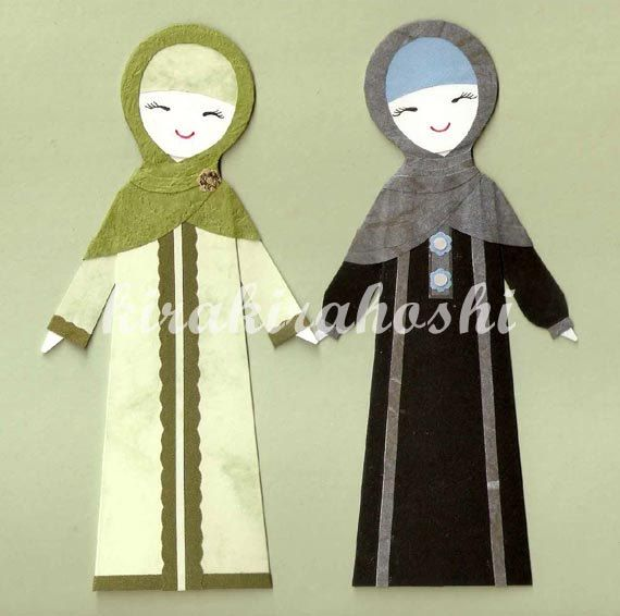 MUSLIM Girl in HIJAB and ABAYA Paper Doll Card by kirakirahoshi