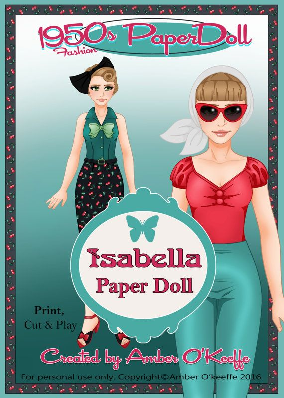 1950s Isabella Paper Doll Collection 8 by OkeeArts on Etsy