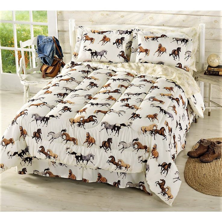 Girls Horse Bedding - Horses Comforter Set with Sheets