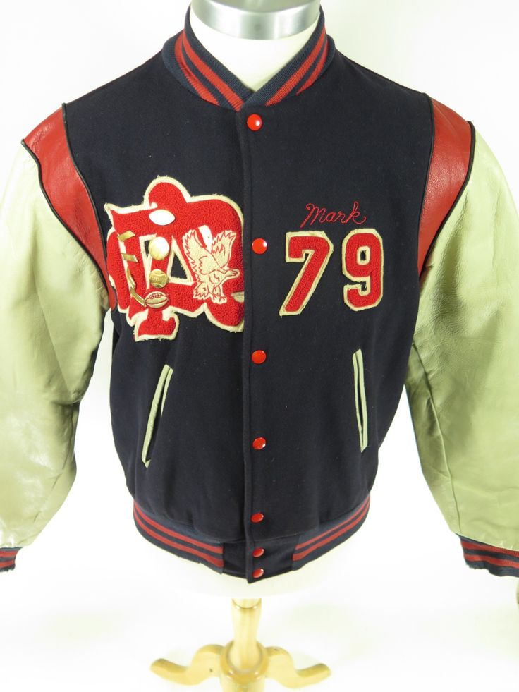 vintage 70s varsity football high school letterman jacket
