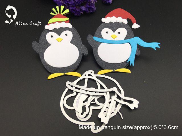 Резка металла умирает die вырезать Пингвин новый год Новогодние товары Санта создать коллаж Записки карты крафт-бумаги тиснение трафареты удар