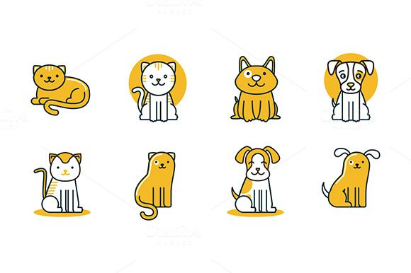 Pet logos, icons and patterns by venimo on Creative Market