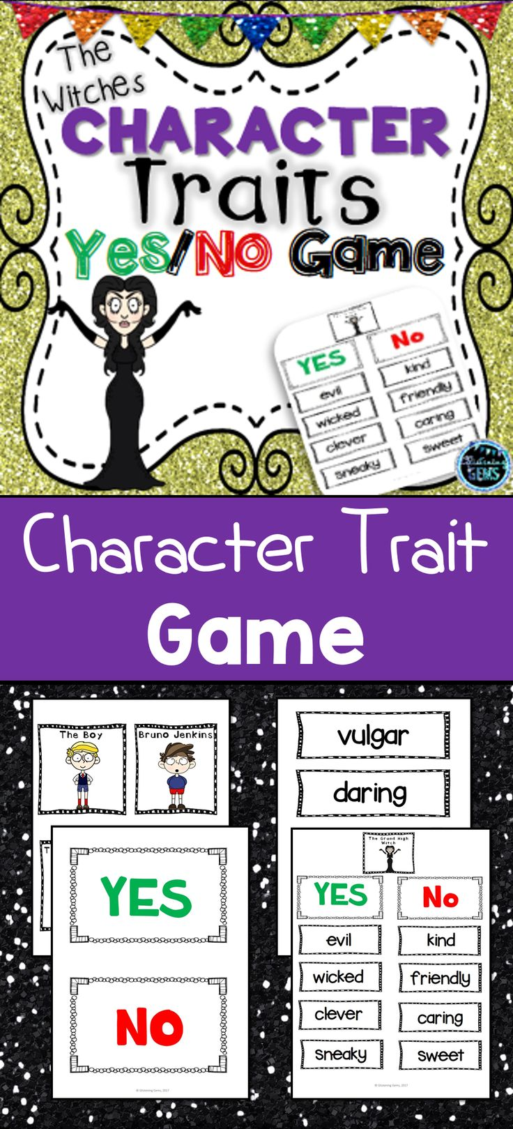 Character Traits Game for the popular novel the Witches by Roald Dahl. Great game, where students make inferences about characters to sort the character traits.