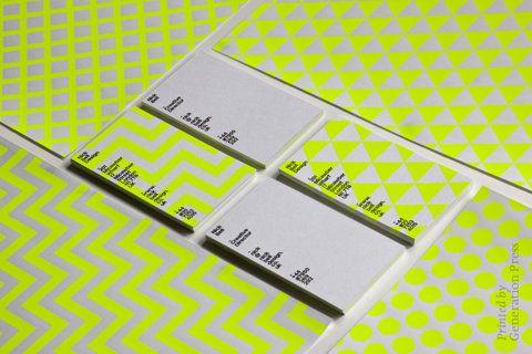 Carte de visite avec encre fluo Business cards fluorescent patterns