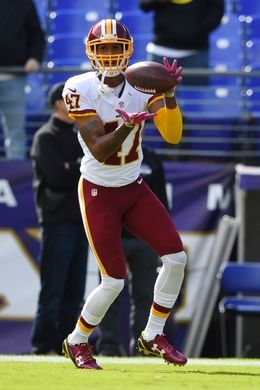 Redskins vs. Reavens  -  Oct 9, 2016:   16-10, Redskins  -    Washington Redskins cornerback Quinton Dunbar (47) makes a catch before the game against the Baltimore Ravens at M&T Bank Stadium. Mandatory Credit: Tommy Gilligan-USA TODAY Sports