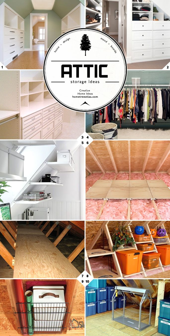 Like the storage between rafters: Finished and Unfinished Attic Storage Ideas