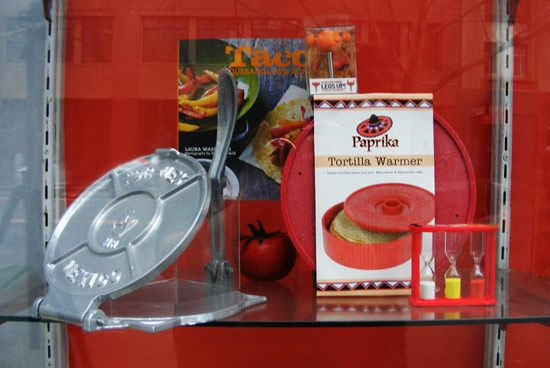 Mexican kitchenware display by Patricia Denis for London and American Supply Stores, Melbourne