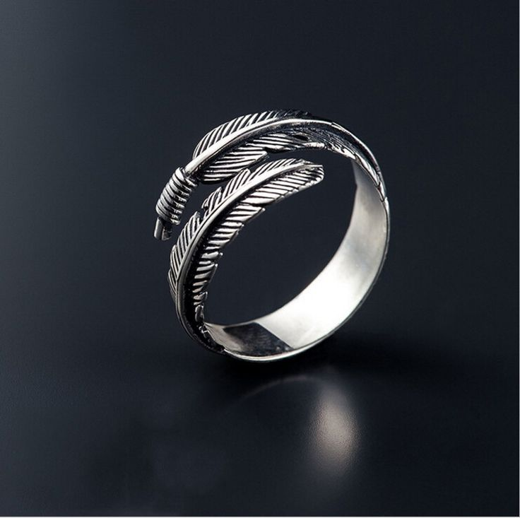 Sterling Silver Classic Feather Design Adjustable Ring