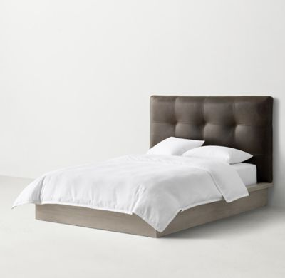 RH TEENu0027s Logan Platform Bed:A Top Stitched Tufted Headboard Lends A Bold  Geometry To Our Low Slung Logan Platform Bed. Architectural In Attitude ...