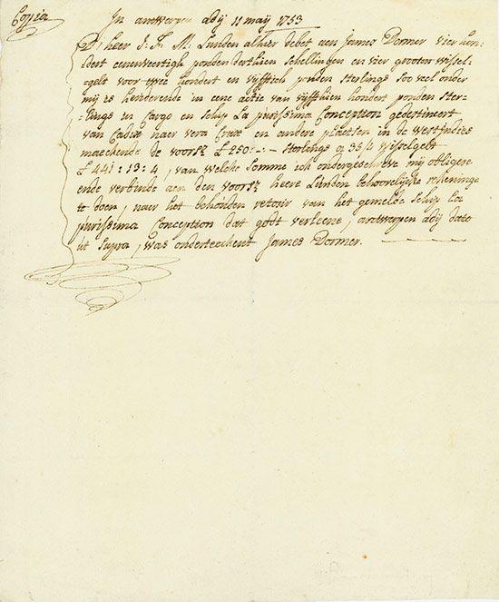 La Purisima Antwerpen, 11.05.1753, Quittung über £ 441.13.4 für die Ladung des Schiffes La Purisima (die Unbefleckte), #16, 23 x 19,2 cm, Copia, handschriftlich auf Büttenpapier.