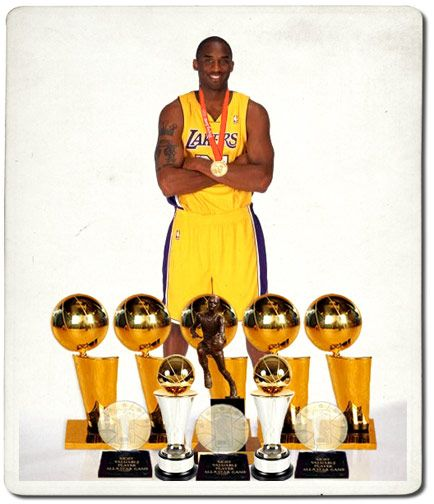 Kobe Bryant: 5-time NBA champion, 2-time NBA Finals MVP, NBA Most Valuable Player, 2-time scoring champion, 14-time NBA All-Star, 4-time NBA All-Star Game MVP