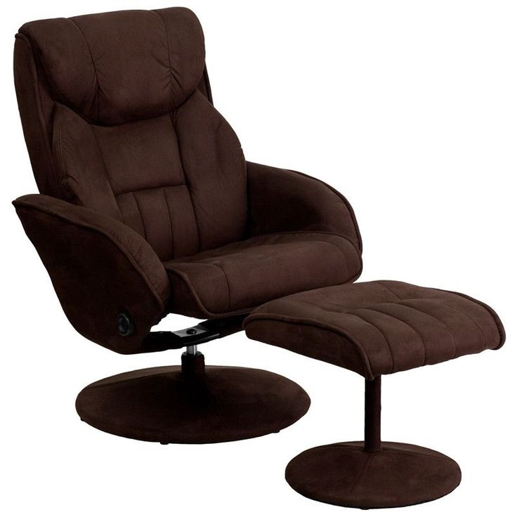 Contemporary Brown Microfiber Recliner and Ottoman with Circular Microfiber Wrapped Base  sc 1 st  Pinterest & 11 best Scandinavian Style Recliners images on Pinterest ... islam-shia.org