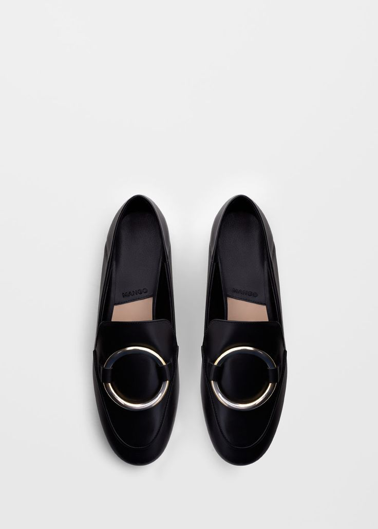 Appliqué leather loafers | MANGO