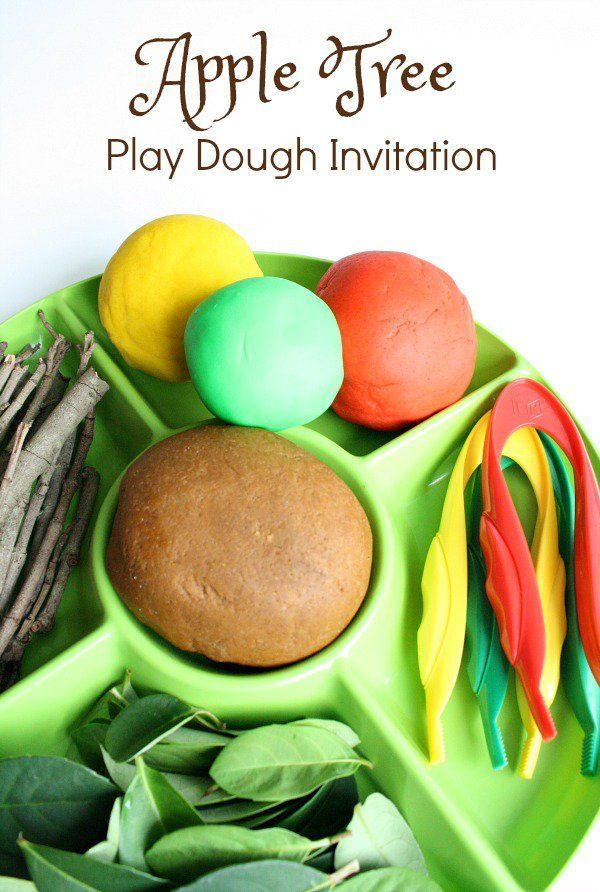 Apple Tree Play Dough Invitation-Use loose part to build your own apple tree…
