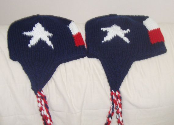 Texas Flag Womens Hats in Blue Red White Hand Knit by earflaphats, $89.99