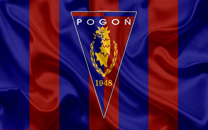 Download wallpapers Pogon Szczecin FC, 4k, Polish football club, logo, emblem, Ekstraklasa, Polish football championship, silk flag, Szczecin, Poland