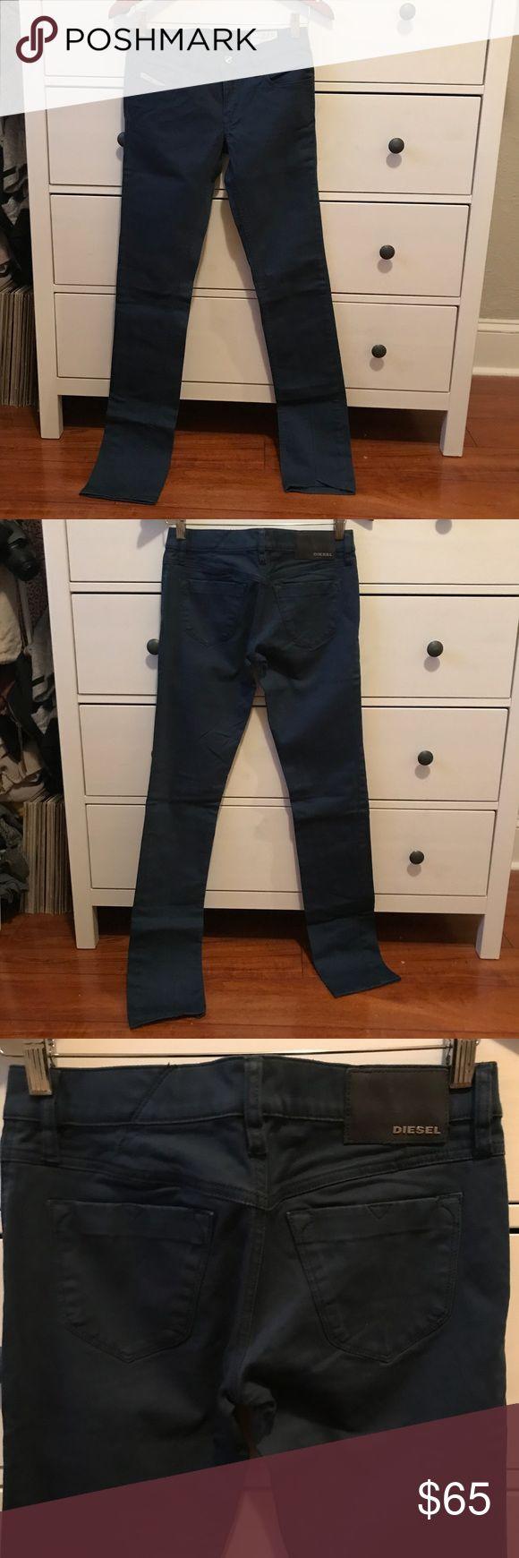 Indigo Diesel Pants Mid rise skinnies! Literally wore them once. Great material and very comfy. Diesel Pants Skinny