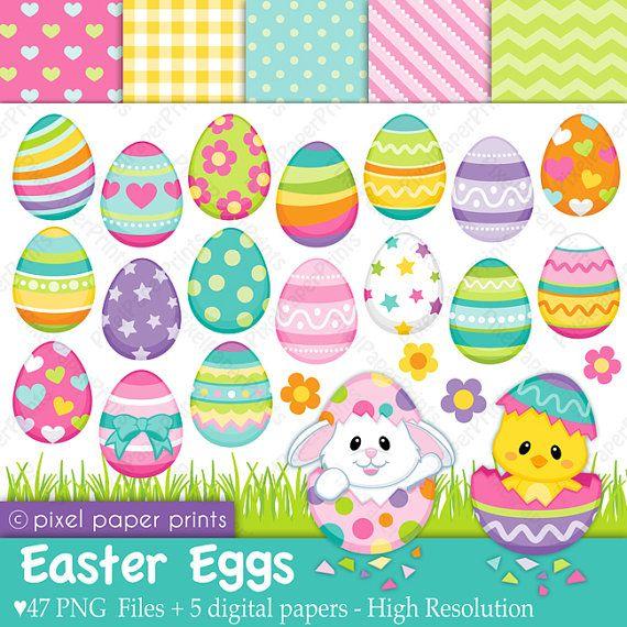 Easter Eggs Clip art and Digital paper set by pixelpaperprints, $6.00