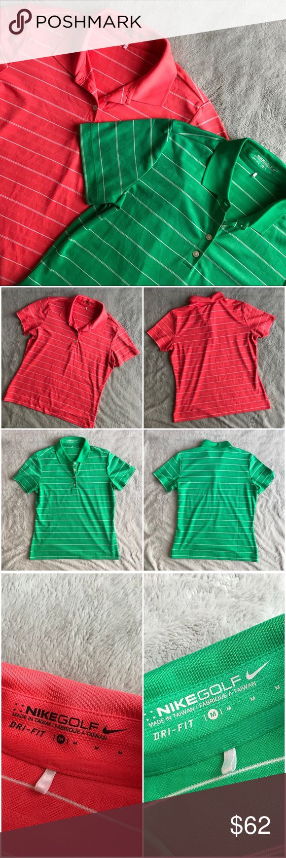 Nike Golf Polo Dri Fit Collar Shirt Bundle Excellent used condition. Bundle of two Nike Golf collared shirts, one in vibrant coral & white stripes and the other in bright green & white stripes. Dri-fit moisture wicking fabric. Short sleeves with 1/4 button front. Nike swoosh embroidered on left sleeve. Note: coral shirt has minor spot on front near bottom, see photos. Size medium, see photos for measurements. Nike Tops